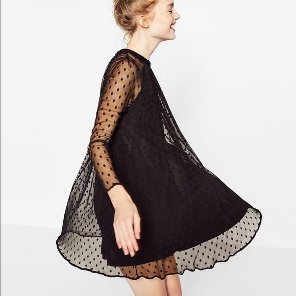 98b2ec89 Zara Dresses | Nwt Black Dot Mesh Overlay Dress | Poshmark